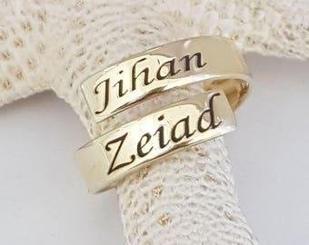 Personalized Skinny Wrap Ring, skinny wrap name ring, stacking ring, skinny band ring, roman rumeral ring, date ring, message ring word ring