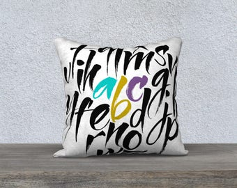 """Pillow case educational for children """"alphabet"""" fabric very soft black and white-pillow decor bedroom kids pillow cover"""