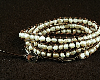 Leather Double-Wrap Bracelet with Freshwater Pearls