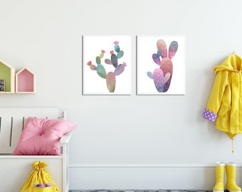 Two Cactus, Cactus Drawings, Pastel Shades, Nursery, Pink Green and Blue, Sticker, Wall Art Print, Sticker for Nursery