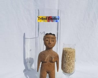 TRIBAL EXOTICS : PREMIUM Authentic fine tribal African Art - Ewe Eve Evhe Krepi Ancestor Wood Figure Sculpture Statue Mask