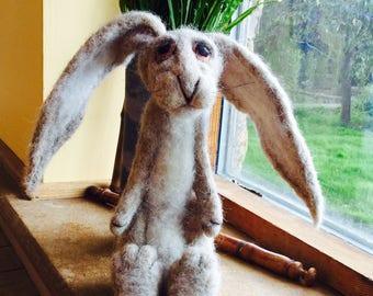 FELTED HARE ,Rabbit ,Felt decoration ,wool Hare,Felt animal,Alpaca wool,sheep wool,Needle felted hare,Handmade Hare,Hand crafted animal,Hare