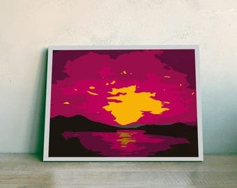 Sunrise Printable Wall Art - Purple and Yellow Decor - Vector Art - Instant Download