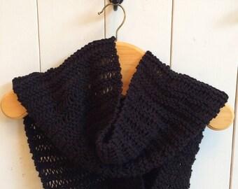 Black wool infinity scarf