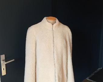 Coat 3/4 off white wool 80s VINTAGE