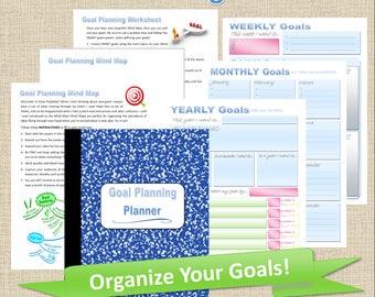 Printable Goal Setting Planner, Goal Planner PDF, Monthly Goal Tracker, Weekly Goal Tracker, Goal Planner Inserts, Productivity Planner