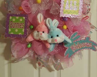 All Bunnies Welcome Wreath, Bunnies, Pink and White Mesh wreath, Easter