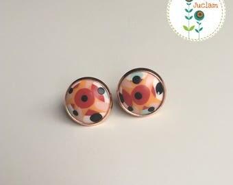 Boucles d'oreilles pendantes puces rondes cabochon 14 mm motif abstrait - girly - mignon - rose - saint valentin - cadeau