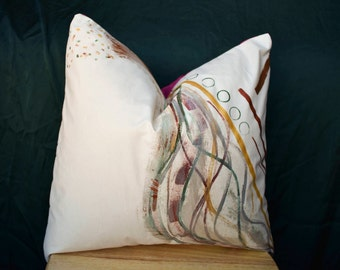 PaintedWater | Hand Painted Abstract Case | Decorative Pillow Sham | 16 x 16 | Made to Order