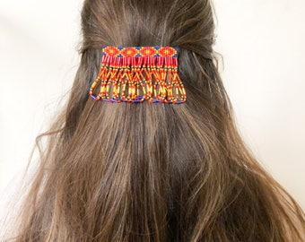 Beaded Hair Clip, Beaded Barrette, Hair clip for long hair, Hair accessories, Barrette for thick hair, Native american hair clip, Boho Gypsy