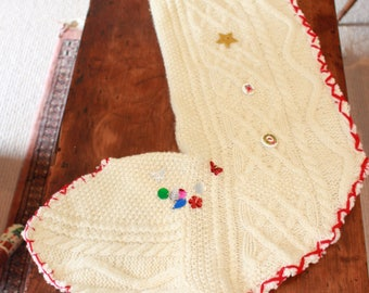 Knitted cream Christmas stocking.