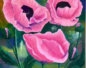 Original Oriental Pink Poppies in Acrylic