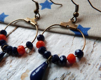 Earrings small hoops sequin drop blue