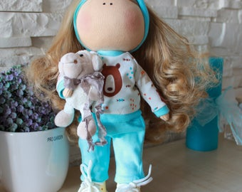 READY to Ship - Handmade Doll - Interior Doll - Tilda Doll - Gift for birthday - Gift for her - Textile Doll