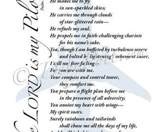 The Lord is my Pilot - Original Poetry Wall Art - Christian Home & Office Decor - Inspirational Wall Art - For Her - Christian Poetry 11x14
