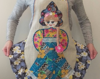 Russian Babushka Apron, Handmade, one of the kind, matryoshka