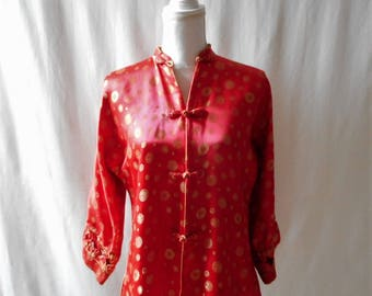 Vintage 1950s Peninsula Hotel Hong Kong Dynasty Red Gold Silk Asian Jacket, Vintage Asian Clothing, Oriental, 1950s Women's Clothing