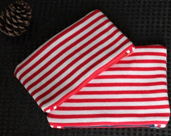 pouch. Red white striped clutch