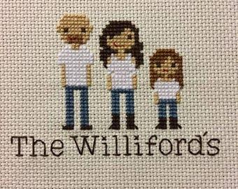 Custom Cross Stitch Family Portrait