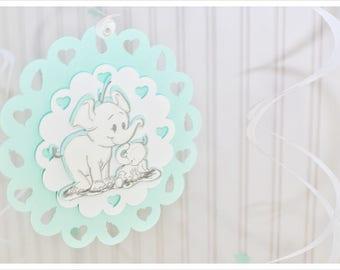 Boy elephant decorations, elephant decor, baby boy, white, mint, personalized, swirly, wall hangings, welcome, hand drawn, handmade