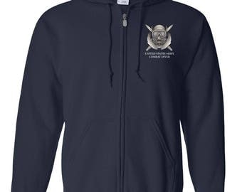 US Army Combat Diver Embroidered Hooded Sweatshirt w/ Zipper-7690