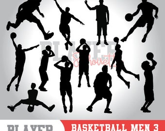 Basketball men SVG, basketball player svg, basketball digital clipart, athlete silhouette, basketball men sport, cut file, design, A-011