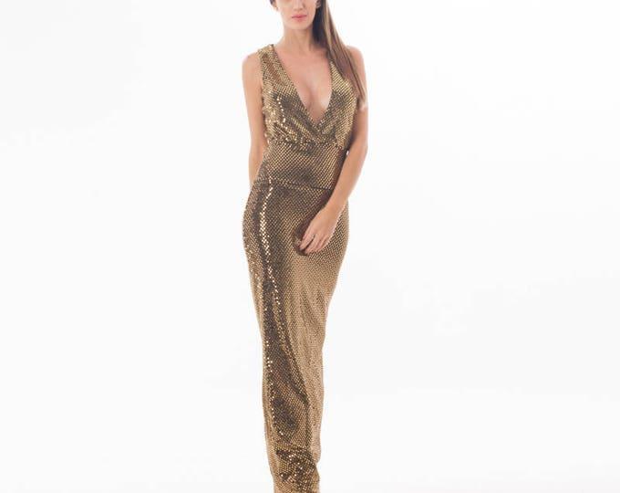 Gold Dress - V Neck Dress - Gold Dress Sparkly - Evening Dress - Holidays Dress - Gold Cocktail Dress- Long Dress - Prom dress - Sexy Dress