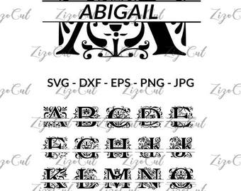 Split Regal Monogram Alphabet svg, A to Z Split Regal Monograms in SVG.
