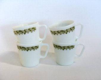 Crazy Daisy spring blossom mugs pyrex
