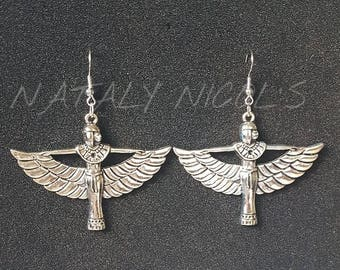 Silver Goddess Ma'at Earrings
