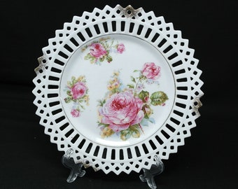 Beautiful Unique Plate with Pink Roses