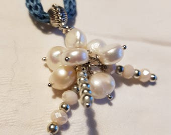 Silk and pearl necklace