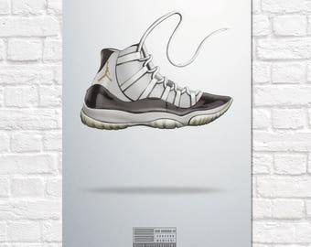 Air Jordan 11 Hella Illustrations Poster