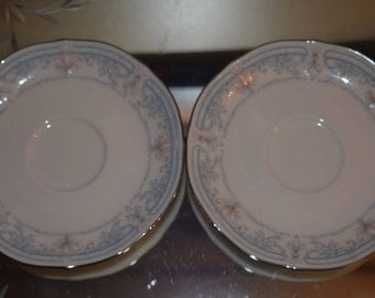 Crown Flower by Noritike Ivory China 7324 Saucers Crafted in Japan