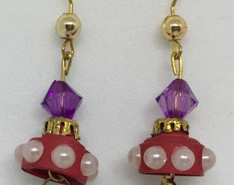 Quilled Paper Earrings: Red Bells