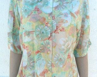 Pastel floral vintage shirt