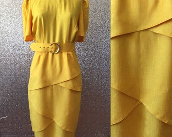 vintage canary yellow belted dress