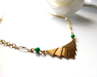 Art Deco Necklace, Forest Green Necklace, Gold Chain Necklace, Statement Necklace, Vintage Jewelry, Handmade Necklace, Gift for Mum