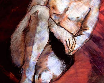 "Naked man lying painting drawing ""Adam"""