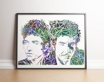 Bob Dylan Now and Then Unique Contemporary Geometric Art print in size A4 or A3