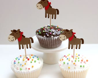 Pony Cupcake Toppers, Pony, Ponies, Pony Toppers, Birthday, Birthday Party, Rodeo, Pony Party, Horse, Horse Party, Baby Shower, Pony Toppers
