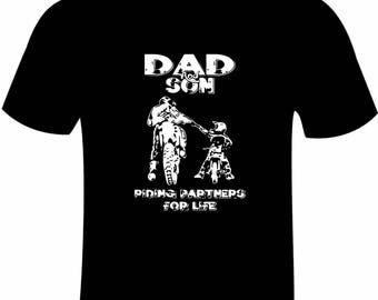 Pair of Dad and Son Riding Partners T-shirts