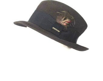 Stetson Fedora The Sovereign Luxuro Finish with Feathers and Stetson Pin 1980s