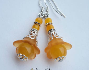 Yellow topaz earrings, Lightweight earrings, Summer spring earrings, Lucite flower earrings, Nature earrings, Drop filigree earrings