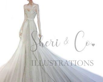 Custom Bridal Fashion Sketch, Wedding gift, Anniversary gift, Bridal Illustration, Fashion Illusration