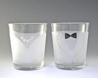 Bride and Groom Double Old Fashioned Glasses - Make your wedding day even more elegant and special with these handmade glasses!
