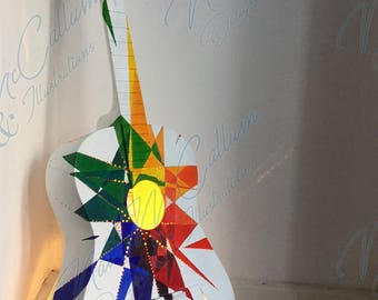 Geometric Explosion - Guitar Lamp (Rainbow) - Music Lovers' Gift - Instrumental Lighting - Custom Design