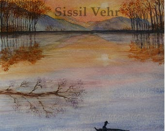 original watercolor painting, landscape, fisherman, Lake, autumn, sunset, watercolor painting, landscape, fisherman, lake, sunset, autumn