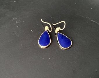 Vintage Laurel Burch Dark Blue TEAR dangle earrings