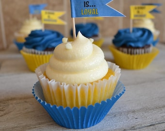 Blue and Gold Scout Law Cupcake Flags